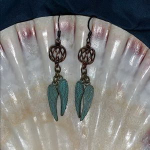 Handmade brass and antique wing earrings